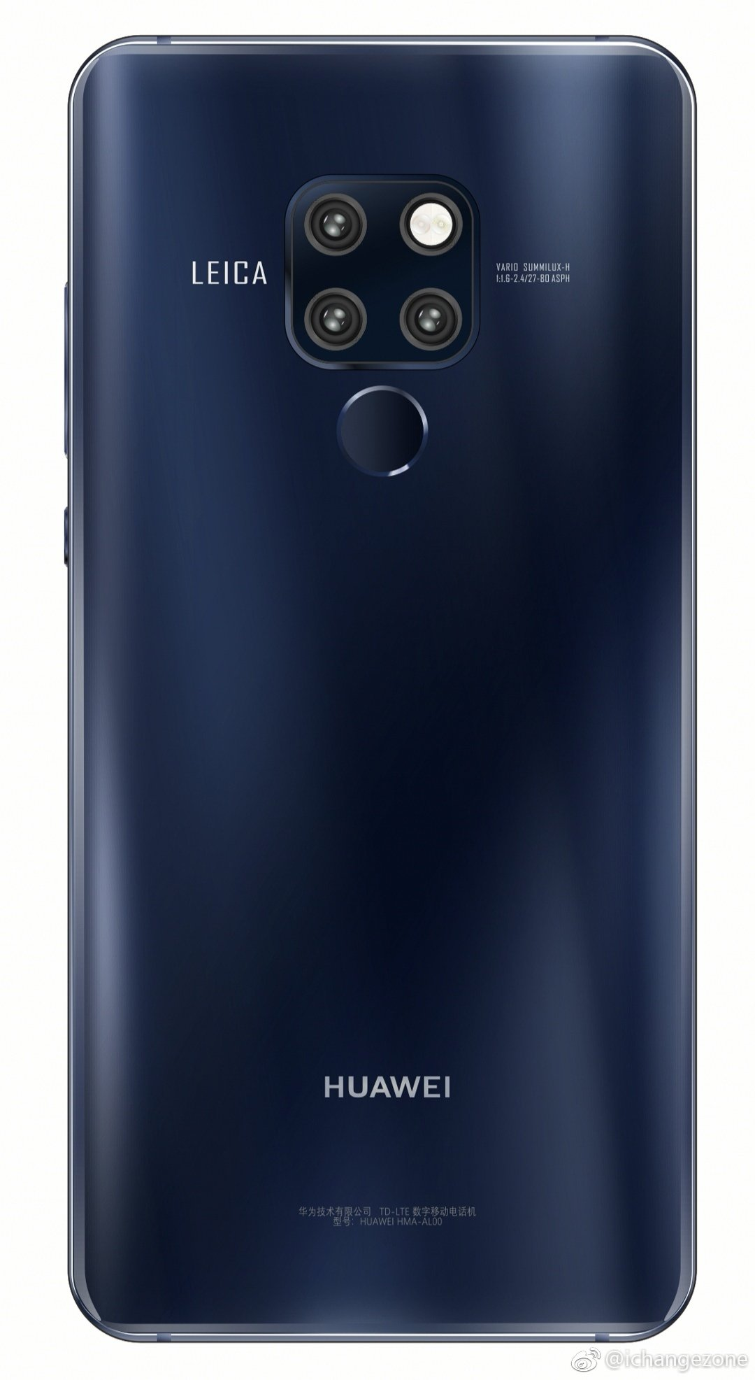 Huawei Mate 20 Renders with Blue and Black Color options 2